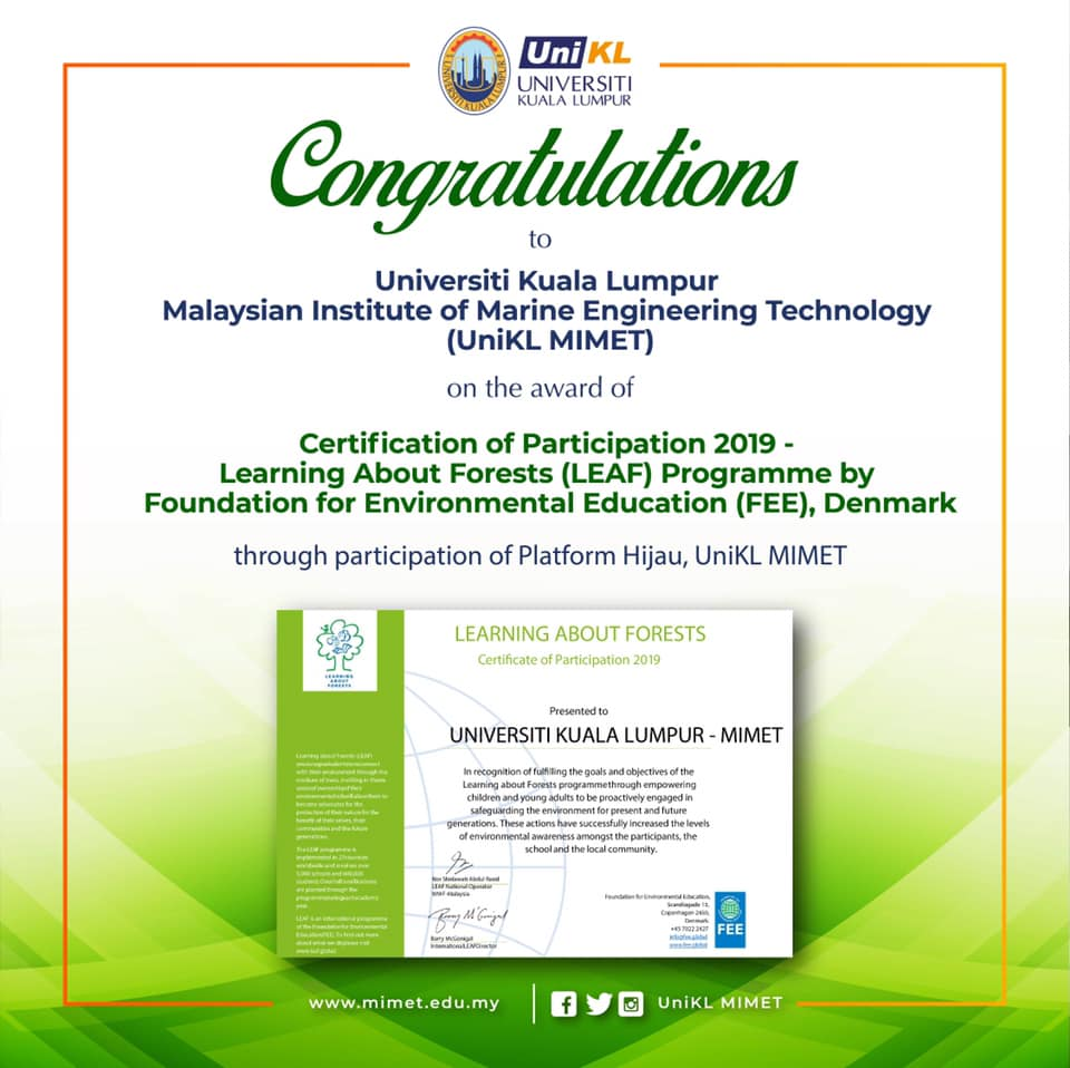 Certification of Participation 2019: Learning about Forest (LEAF) Programme by Foundation for Environmental Education (FEE), Denmark