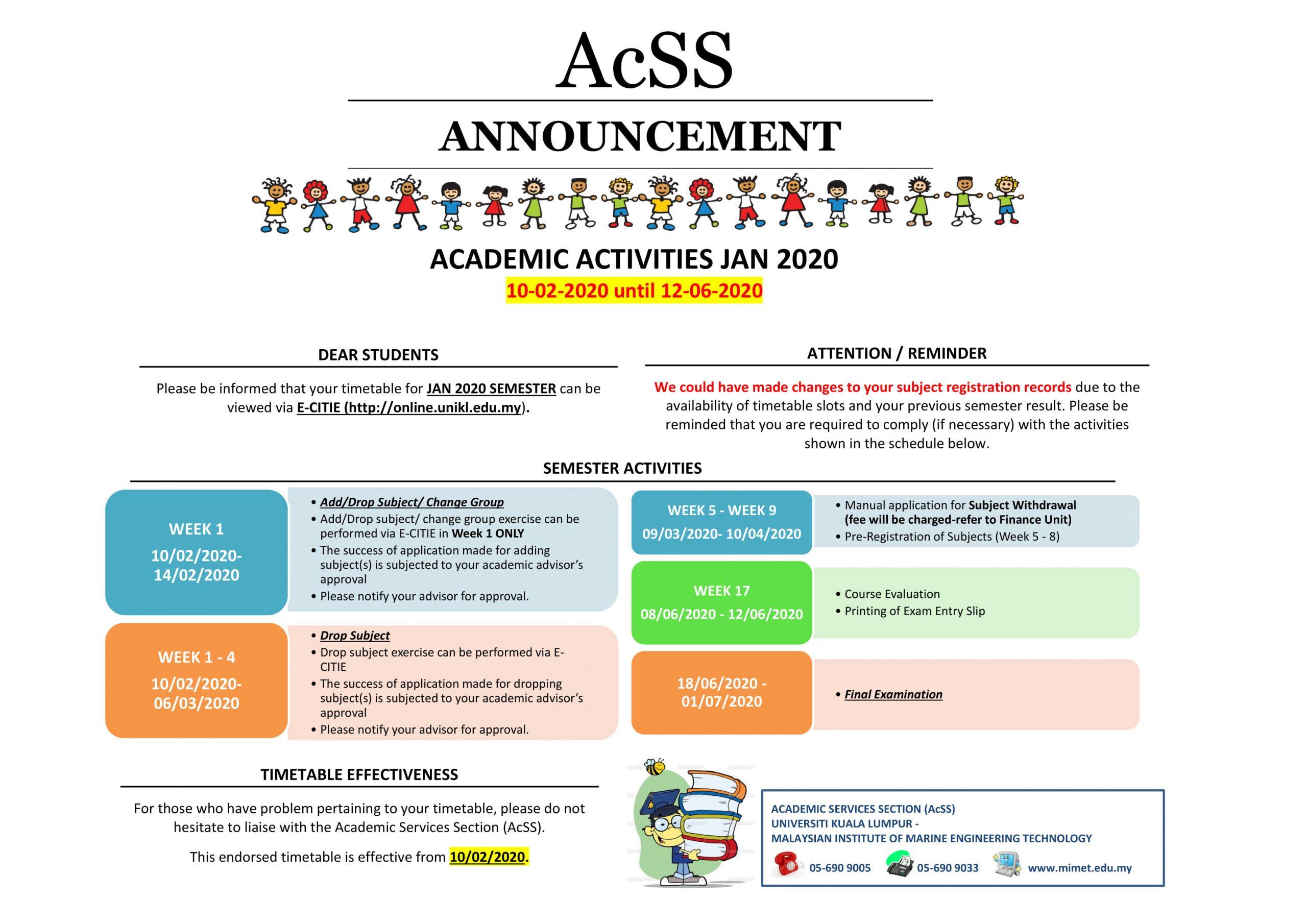 ACADEMIC ACTIVITIES JAN 2020